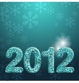 Banner for 2012 year made with blue glossy glitter vector image