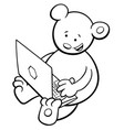 bear with notebook coloring book vector image