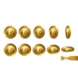 bitcoin set of realistic 3d gold crypto coins vector image vector image