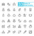 black baby line icons vector image vector image
