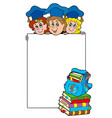 blank frame with graduating kids vector image vector image