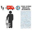 broken leg patient icon with 1300 medical business vector image vector image