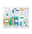 Caravan Tourism - line flat design vector image vector image