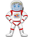 cartoon astronaut standing isolated on white backg vector image vector image