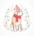 christmas cute puppy vector image vector image