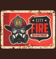 city fire department rusty metal plate vector image