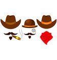 colorful cartoon 3 cowboy avatars vector image vector image