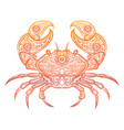 colorful crab decorative doodle design vector image vector image