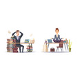 deadline panicked businessman and organized vector image
