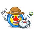 explorer yoyo mascot cartoon style vector image vector image