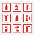 fire extinguisher signs and icons set vector image vector image