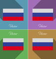 Flags Russia Set of colors flat design and long vector image