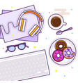 flat lay with glasses headphones keyboard vector image