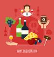 flat wine degustation concept vector image vector image