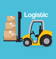 forklift vehicle with boxes logistic services vector image vector image