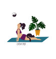 girl doing cobra yoga pose with cat vector image vector image