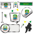 glossy icons with flag of bekasi indonesia vector image vector image