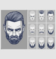 hair and beard styles set vector image vector image