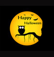 halloween background withowl silhouette on moon vector image