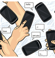 Hands with smartphone sketches vector image