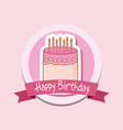 happy birthday frame with sweet cake vector image vector image