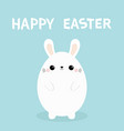 happy easter white bunny rabbit painting egg vector image vector image