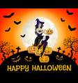 happy halloween card with flying witch on broom vector image vector image