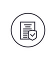 insurance policy icon linear on white vector image