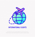 international flights thin line icon vector image