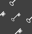 Key icon sign Seamless pattern on a gray vector image