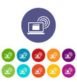 laptop and and wireless set icons vector image vector image