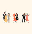 musicians and people dancing in vintage costumes vector image vector image