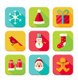 New Year and Merry Christmas Square App Icons Set vector image vector image