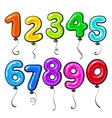 Number shaped bright and glossy colorful balloons vector image vector image
