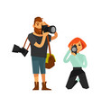 photographer man and woman journalist or paparazzi vector image vector image
