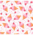 pink cherry ice cream cone seamless pattern vector image vector image