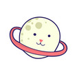 planet - cat head japanese style kawaii vector image vector image