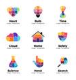 puzzle logo templates set heart medical vector image