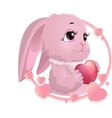 rabbit surrounded by hearts vector image vector image