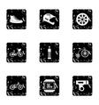Race bike icons set grunge style vector image vector image