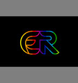 rainbow color colored colorful alphabet letter er vector image vector image