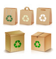 recycling paper bags and boxes realistic blank vector image vector image