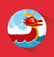 red chinese dragon boat sea and clouds button vector image vector image