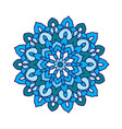 round flower mandala in blue colors vector image
