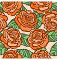 seamless background orange roses with green leaves vector image vector image