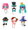 set carnival accessories vector image vector image