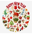 Set of Christmas symbols with cat in the center vector image vector image