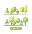 Set of flat trees and pines vector image vector image