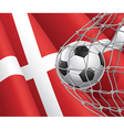 Soccer goal and Denmark flag vector image vector image