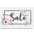 spring season flowers and sale text vector image vector image